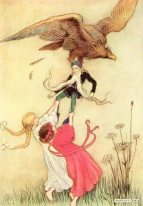 The compassionate children instantly seized hold  of the little man, held him fast, and struggled so long  that the eagle let his prey go  - Illustration by Warwick Goble